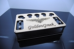 GG Stand with Golden Greek Logo By Fluid